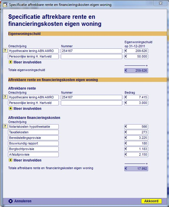 Aftrekposten - financieringskosten eigen woning